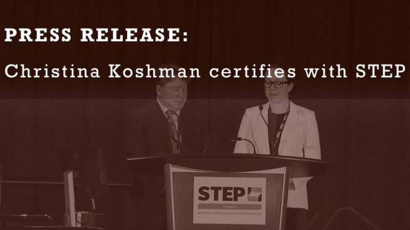 press-release-christina-koshman-certifies-with-step-canada
